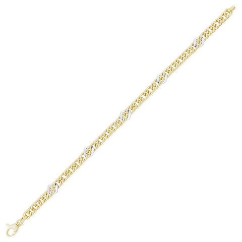 "9ct. Yellow Gold Fancy Curb Link Bracelet 7.5""/19cm"