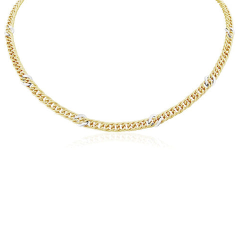 "9ct. Yellow Gold Fancy Curb Link Necklace 17""/43cm"