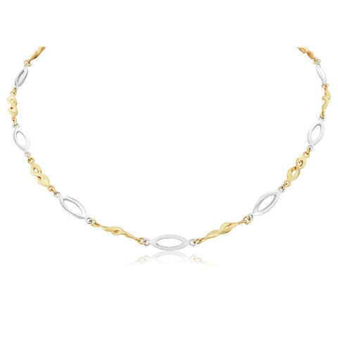 "9ct. Fancy Two-Tone Necklace 17""/43cm"