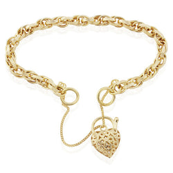 "9ct. Gold Victorian Prince of Wales Charm Bracelet with Embossed Links and Heart Padlock 7.5""/19cm"