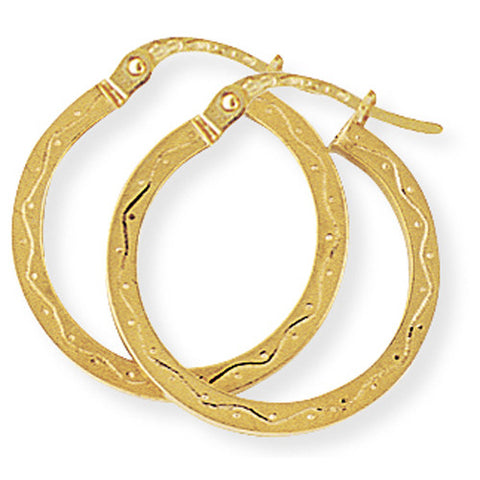 9ct. Engraved Hoop Earrings