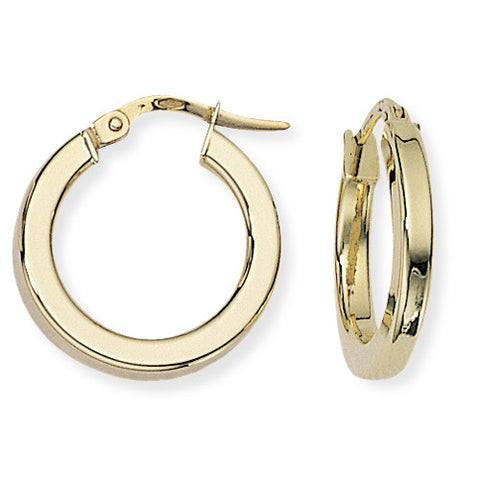 9ct. Square Tube Round Hoop Earrings