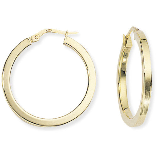 9ct. Square Tube Round Hoops