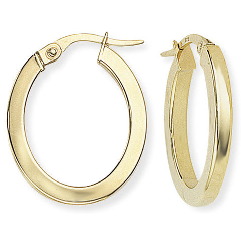 9ct. Square Tube Oval Hoop Earrings