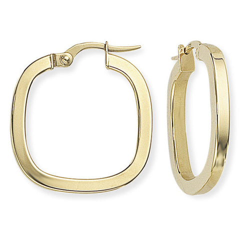 9ct. Square Tube Square Hoop Earrings