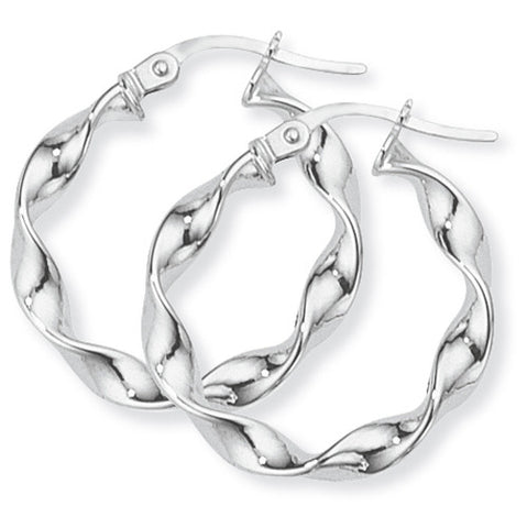 9ct. White Gold Twisted Hoop Earrings