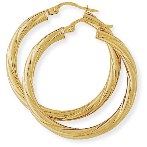 9ct. Classic Twisted Hoop Earrings