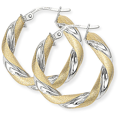 9ct. Two Tone Twisted Round Hoop Earrings