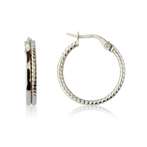9ct. White Gold Hoops