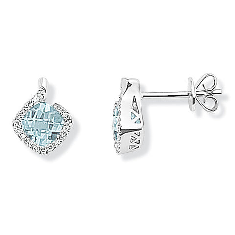 9ct. White Gold Diamond and Blue Topaz Earrings