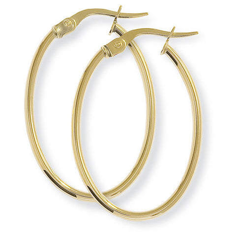 9ct. Oval Hoop Earrings