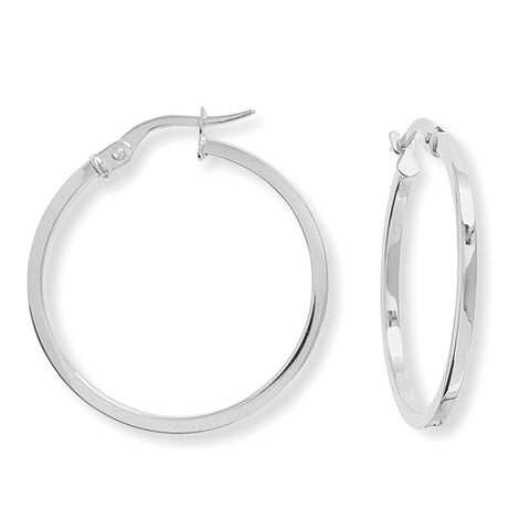 9ct. White Gold Square Tube Round Hoop Earrings