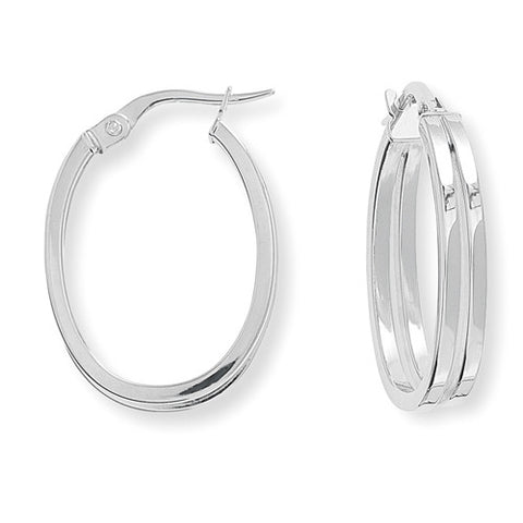 9ct. White Gold Square Tube Oval Hoop Earrings