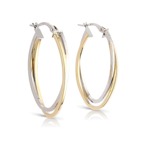 9ct. White and Yellow Gold Double Oval Hoop Earrings