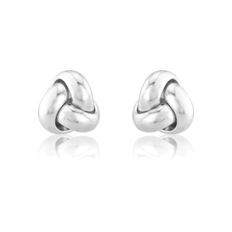 9ct. White Gold Knot Earrings