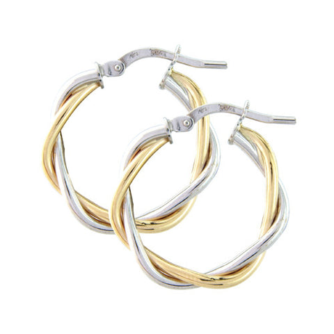 9ct. White and Yellow Gold Hoop Earrings