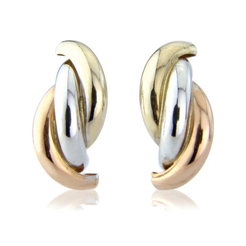 9ct. White, Rose and Yellow Gold Contemporary Stud Earrings