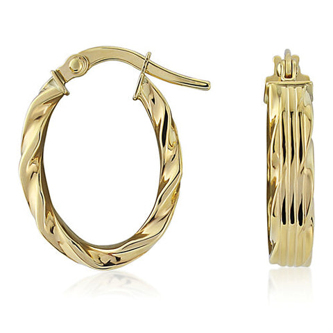 9ct. Fancy Oval Hoop Earrings