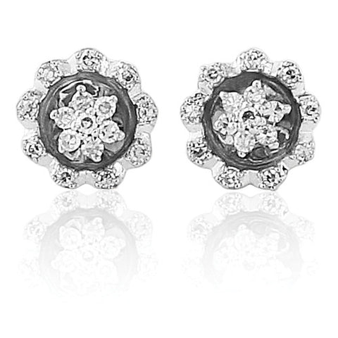 9ct. White Gold Diamond Stud Earrings