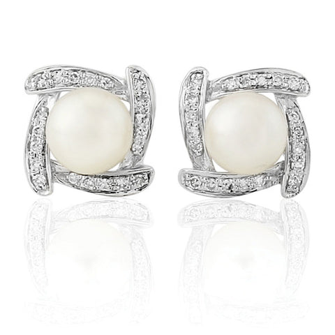 9ct. White Gold Pearl and Diamond Earrings