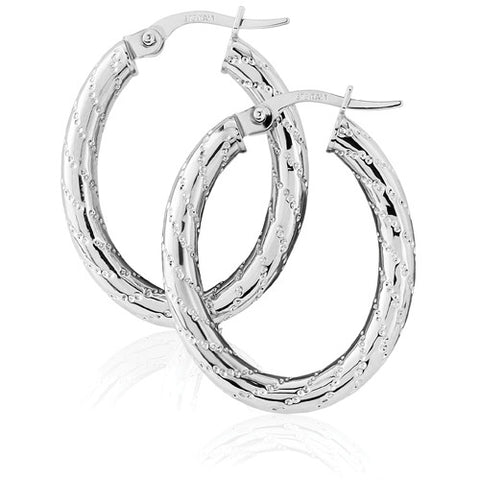 9ct. White Gold Hoop Earrings