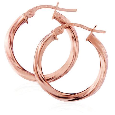 9ct. Rose Gold Twisted Hoop Earrings