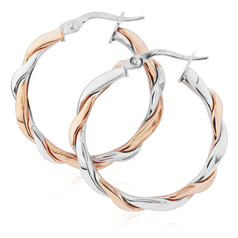 9ct. White and Rose Hoop Earrings