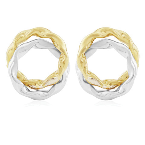 9ct. White and Yellow Gold Fancy Stud Earrings