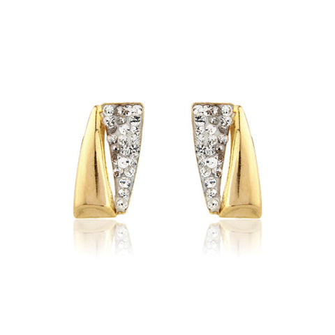 9ct. Contemporary Crystal-set Stud Earrings