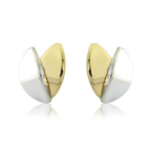 9ct. White and Yellow Gold Stud Earrings