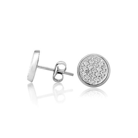 9ct. White Gold Cubic Zirconia Round Stud Earrings