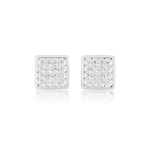 9ct. White Gold Cubic Zirconia Square Stud Earrings