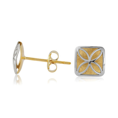 9ct. White and Yellow Gold Filligreed Stud Earrings