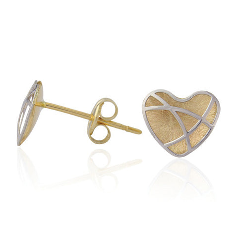 9ct. White and Yellow Gold Heart-Shaped Stud Earrings