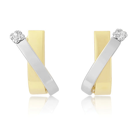 9ct. White and Yellow Gold Kiss Stud Earrings