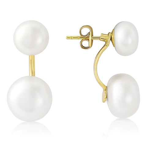 9ct. Double Freshwater Pearl Stud Earrings