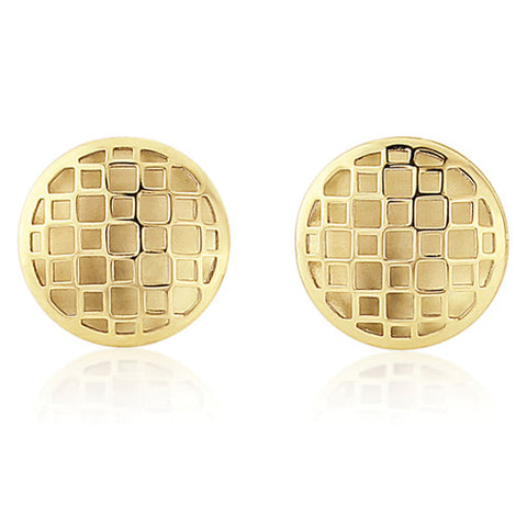 9ct. Filligreed Button Round Stud Earrings