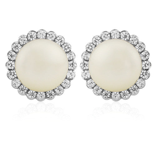 9ct. White Gold Freshwater Pearl CZ Stud Earrings