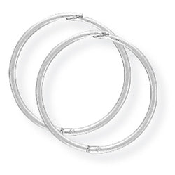 9ct. White Gold 14mm Thin Hinged Sleeper Earrings