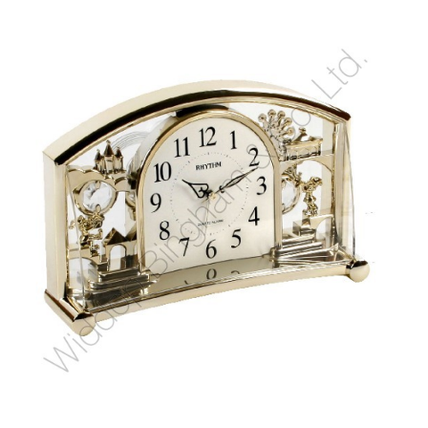 Rhythm Alarm Mantle Clock with rotating Swarovski Pendulum Gilt 4SE535WR18