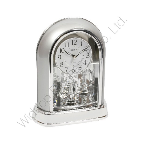 Rhythm Cont Mantle Clock 2 Tone Chrome with Swarovski Pendulum 4SG696WR19