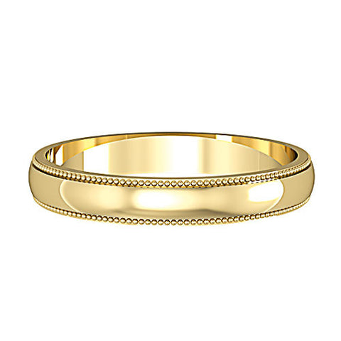 9ct. Yellow Gold 3mm Mill Grain Wedding Ring