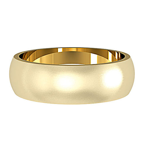 9ct. Yellow Gold Satin Brushed 6mm Wedding Ring