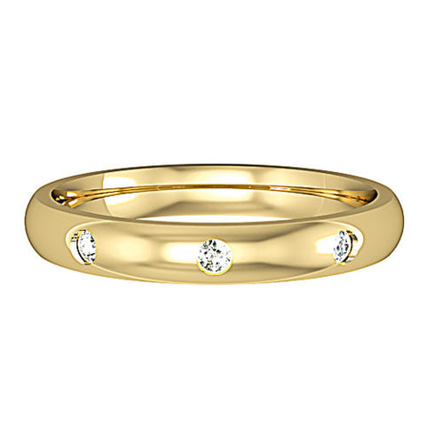 9ct Yellow Gold 3mm Diamond Set Wedding Ring