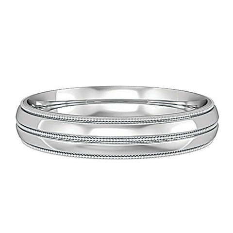 18ct. White Gold Triple Mill Grain 4mm Wedding Ring