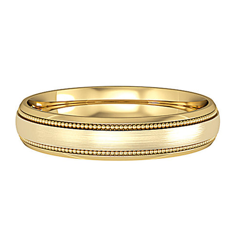 9ct. Yellow Gold Court Patterned 4mm Wedding Ring