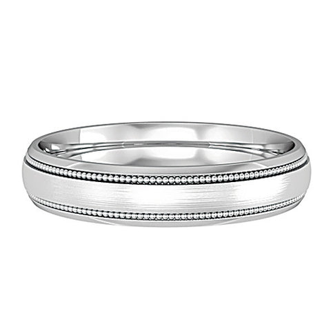 18ct. White Gold Court Patterned 4mm Wedding Ring