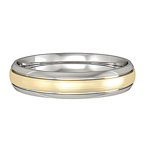18ct. Yellow and White Gold Court 4 mm Wedding Ring