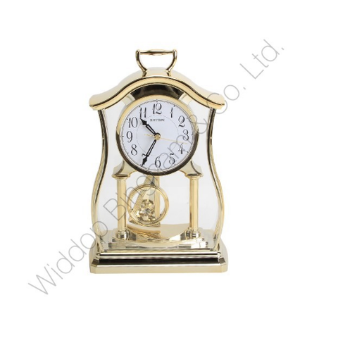 Rhythm Mantle Clock with Pendulum & Acrylic Decoration Gold CRP611WR18