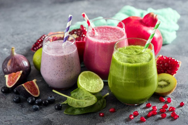 Colorful detox smoothies